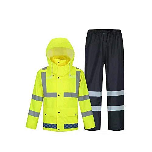 Lostgaming Waterdichte Regenjas En Broek, Reflecterende Veiligheid Regenjas, Verborgen Hooded Poncho Set, Fluorescerende Geel Reflecterende vesten