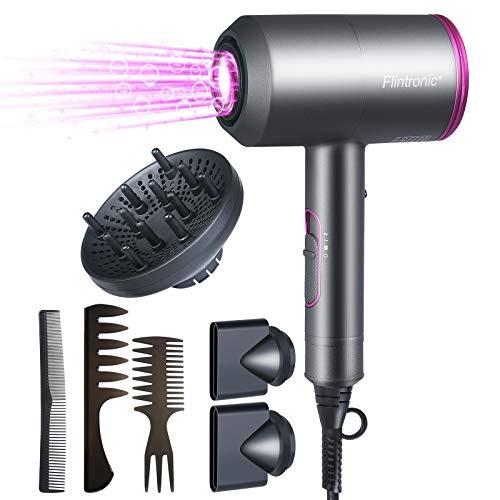 Flintronic Haartrockner, Professional Ionen Haartrockner,2000W 4 in 1 Föhn,3 Geschwindigkeiten mit 3 Stylingdüsen und Diffusor, Warm und Kühl Wind Airwrap für Haarsalon und Familie