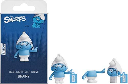Tribe Los Pitufos Sabio - Memoria USB 2.0 de 8 GB Pendrive Flash Drive de goma con llavero, color azul