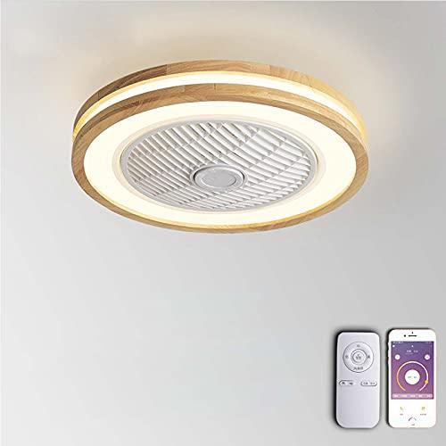 VOMI LED Ventilador de Techo con Luz y Control Remoto APP Control Silencioso Invisible Ventilador Lámpara de Techo Regulables Luz de Plafón de Madera para Sala de Estar Dormitorio Habitación Infantil
