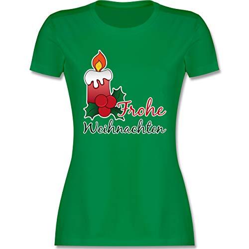 Weihnachten & Silvester - Frohe Weihnachten mit Kerze und Mistelzweig - S - Grün - Kurzarm - L191 - Tailliertes Tshirt für Damen und Frauen T-Shirt