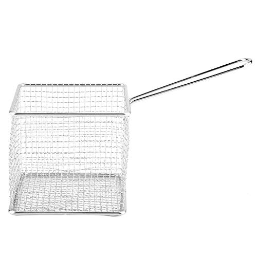 MENGzhuHSA Kitchen Kitchen Colander Mini Stainless Steel Chips Deep Fry Baskets Food Presentation Strainer Potato Cooking Tool Kitchen Storage for Cooking,straining pasta noodles (Color : Silver)