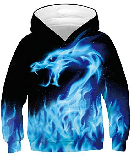 Rave on Friday Drachen Hoodies für Jungs Cool 3D Drucken Kapuzenpullover Funky Tier Sweatshirt Neuheit Blau Pullover Lange Ärmel Jumper mit Tasche S, 6-7 Jahr