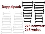 JANIRO Elastische Silikon Schnürsenkel flach | Flexible schleifenlose Schuhbänder ohne Binden | Kinder & Erwachsene (schwarz/Weiss)