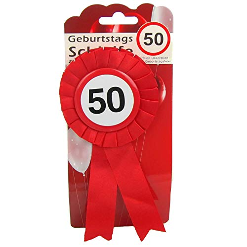 Top Ten Geburtstags - Schleife 50 Button inkl. Sicherheitsnadel Abzeichen zum anstecken oder Dekoration Party