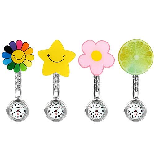 LANCARDO Uhren 4pcs, Krankenschwester Armbanduhr FOB-Uhr Damen Wassermelone Blumen, Stern Taschenuhr Analog Quarzuhr aus Legierung