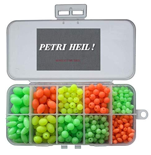 Set de perlas blandas parcialmente luminosas, 5-12 mm, ovaladas y redondas, en caja, luminosas + pegatina Petri Heil!