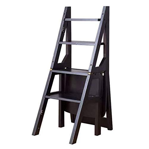 N&O Renovation House Massivholz 4-Stufen-Hocker Klapp-Stufenleiter-Stuhl Mehrzweck-Umwandlungs-Stufenleiter-Pflanzenständer-Stuhl für Küche Bürobibliothek (Walnussholzfarbe Schwarz)