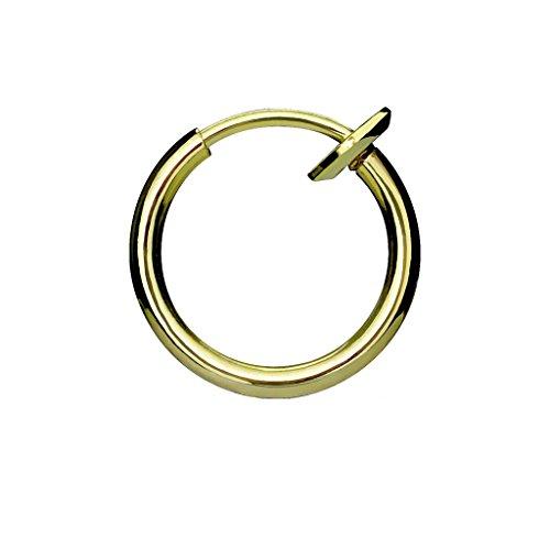 PiercedOff Rose Gold Spring Action Titanium Fake Nose Hoop