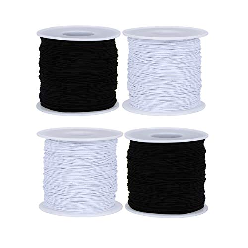 4 Rolls 1mm & 0.8 mm Bracelet Stretch String Elastic Cord, TuNan Stretchy Beading String Bead Thread for Fabric Crafting, Jewelry Making, Sewing - White and Black (55/55/55/55 Yards Long)