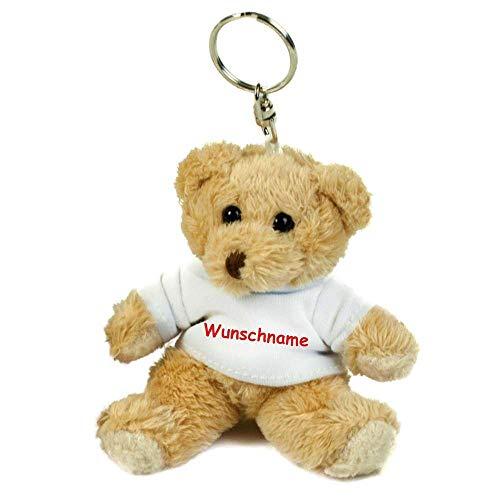 Schlüsselanhänger mit Namen Wunschtext Geschenk Teddybär Personalisiert Geburtstag Prüfung Jahrestag Glücksbringer