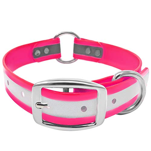Regal Dog Products Reflective Dog Collar - 21 inch Pink Waterproof Dog Collar with Heavy Duty Center Ring | Puppy Collar Harness for Large Or XL Dogs