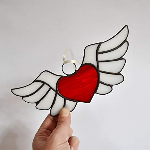 Stained Glass Heart with Wings Suncatcher for Window Hanging or Wall Decor, Unique Red Winged Heart