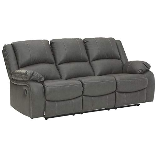 Signature Design by Ashley - Calderwell Contemporary Faux Leather Reclining Sofa - Pull Tab Reclining - Gray