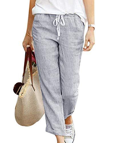 Tomwell Pantalones Verano Mujer Cintura Alta Pantalones 7/8 Longitud Lino con Cordón Pantalones Playa Pantalones Sueltos Color Sólido Casual Suave Cómodo