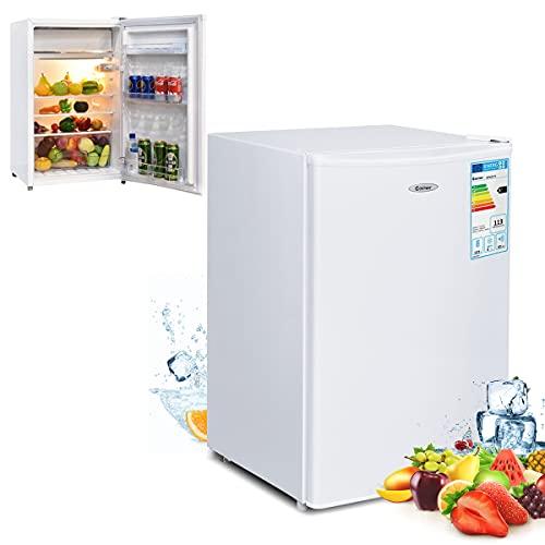 RELAX4LIFE Minikühlschrank 123 L, Kühlschrank mit Gefrierfach, Kühl-Gefrier-Kombination mit wechselbarem Türanschlag & höhenverstellbaren Füßen, Standkühlschrank mit Temperaturregelung (weiß)