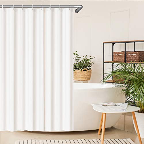 SeaFellows® Duschvorhang 180x200 cm im Set I wasserabweisend mit Anti-Schimmel-Effekt - antibakterieller Vorhang in weiß - mit jeweils [12x] Befestigungsringen + 3 Magnete als Fallgewicht