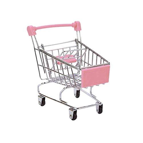 Qingsi Mini-Supermarkt-Bollerwagen, Mini-Metall-Einkaufswagen, Mini-Einkaufswagen für Kinder, aus Metall, 1 Stück