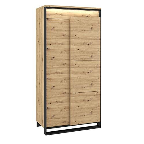 Furniture24 Kleiderschrank Quant QA-01 Schrank Drehtürenschrank 2 Türiger Wohnzimmerschrank mit LED Beleuchtung