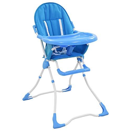 pedkit Kindersitz Baby-Hochstuhl Klappbar Baby Hochstuhl Babystuhl, 5-Punkt-Gurt, eingebaute Essenstablett, Verstellbare Fußstütze, Blau und Weiß