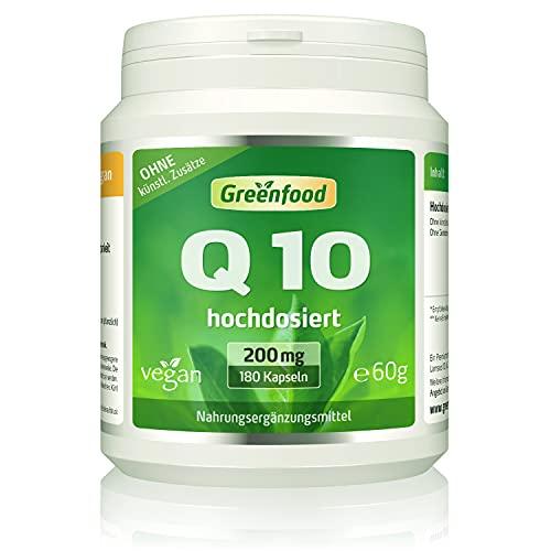 Coenzym Q10, 200 mg reines Q10 (!), extra hochdosiert, 180 Kapseln, vegan - hergestellt durch natürliche Fermentation. OHNE künstliche Zusätze, ohne Gentechnik.