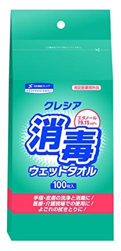 日本製紙クレシア クレシア 消毒ウェットタオル 詰め替え用 100枚入