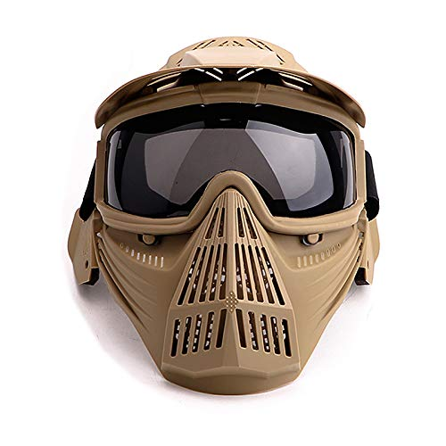 Senmortar Paintball Mask Airsoft Masks Full Face Tactical Protection Gear with Grey Glasses for Halloween BBS CS Game Costume Accessories Motocross Skiing Tan & GreyLens