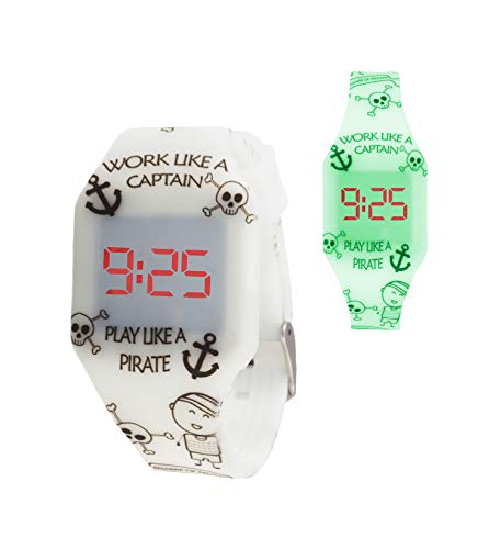 KIDDUS Reloj LED Digital para niña o niño. Pulsera de Silicona Suave para niños y Adultos. Batería Japonesa reemplazable. Fácil de Leer y Aprender Las Horas. KI10223 Piratas Fluor