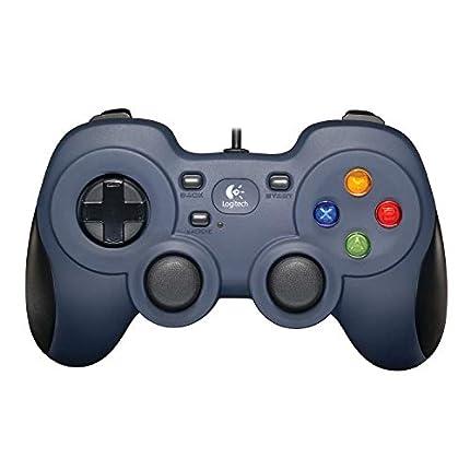 Logitech F310 Gamepad con Cable, Distribución Tipo Consola, Mando de Dirección 4 Conmutadores, Comodidad de Sujeción, Cable 1,8m, PC - Azul/Gris