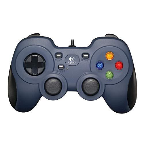Logitech F310 Gamepad, Controller mit Konsolenartigem Layout, 4 Tasten D-Pad, XInput/DirectInput, Komfortable Griffflächen, 1,8 m Kabel, PC/Steam/AndroidTV - blau/grau