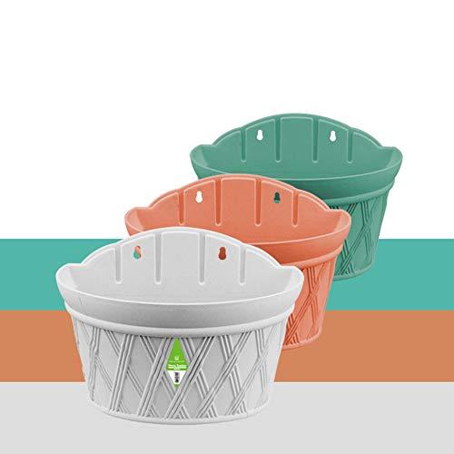 XYHF Perchas de Pared de plástico Maceta de Flores Perchas de Pared de Mimbre de imitación Lavabo Macetas semicirculares para Colgar en la Pared Maceta de balcón,Color,22x30.5x17.5cm