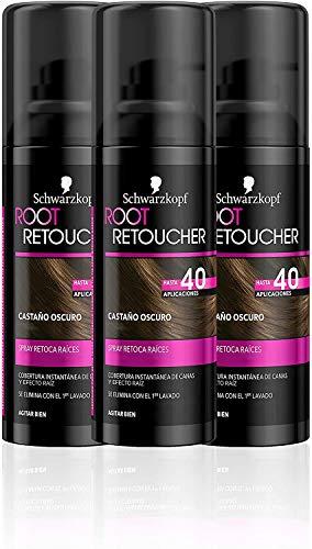 Schwarzkopf Root Retoucher - Spray retoca raíces - Coloración del Cabello Castaño Oscuro (pack de 3) – Hasta 40 aplicaciones – Disimula el efecto raíz