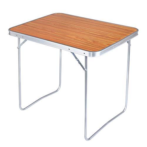 WOLTU CPT8128ei Campingtisch Klapptisch 80 x 60,5 x 70 cm Klappbar Gartentisch aus Alu und MDF für Picknick Strand im Freien, Eiche