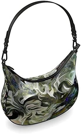 The Fashion Access Abstract Fluid Lines of Movement Muted Tones High Fashion Curve Hobo Bag