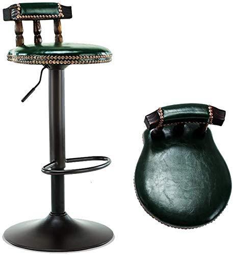 Haushaltsprodukte Barhocker Set aus Eisen Barhocker Lift Hochhocker Massivholzrücken Vintage Leder Kissen Rundes Chassis Design Mode Nietkante (Braun Blau Grün) Blau (Farbe: Braun)