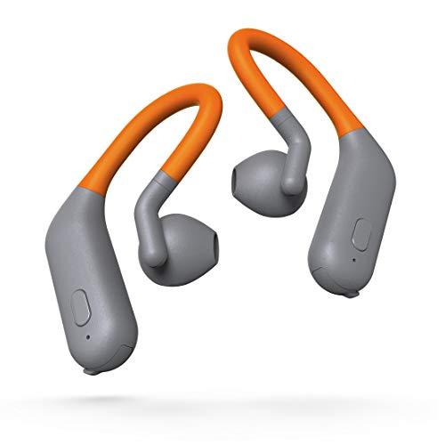 Thomson Auriculares Bluetooth inalámbricos (Auriculares Deportivos, ultraligeros, con Gancho para la Oreja y micrófono), Color Gris y Naranja