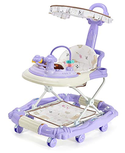 Mother And Me Baby Walker - Infant-to-Toddler Rocker - Push Learning Walker-Seated & Walk-Behind W/Wheels, Adjustable Height, Soft High Back Padded Seat(Basic version, Purple)