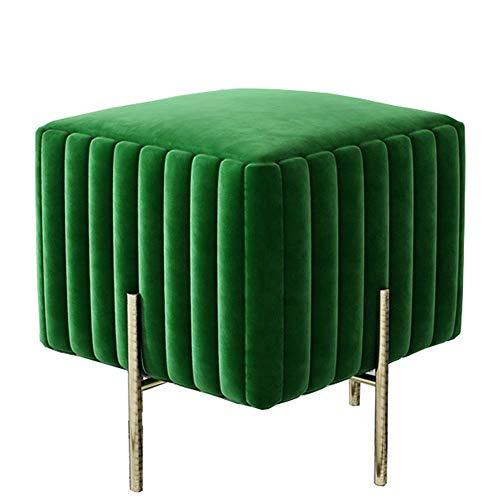 JIEER-C voetensteun beklede zitzak Moderne eenvoudige vervanging flanel schoenen sofa gemaakt van stof robuuste voetenbank van metaal wereldwijd gewicht 120 kg 40 x 40 x 45 cm (kleur: donkerblauw) Groen