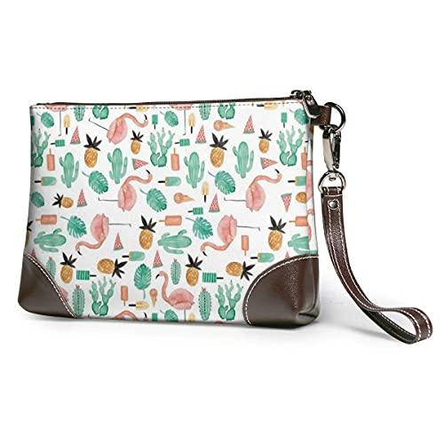 XCNGG Geldbörsen Clutch Handy Geldbörsen Sommer Flamingo Leder Kleine Wristlet Geldbörsen Handtasche