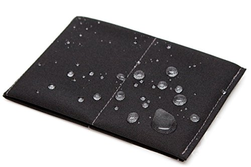 SlimFold Minimalist Wallet - Thin, Durable, and Waterproof Guaranteed - Made in USA - Original Size Black with Gray Stitching