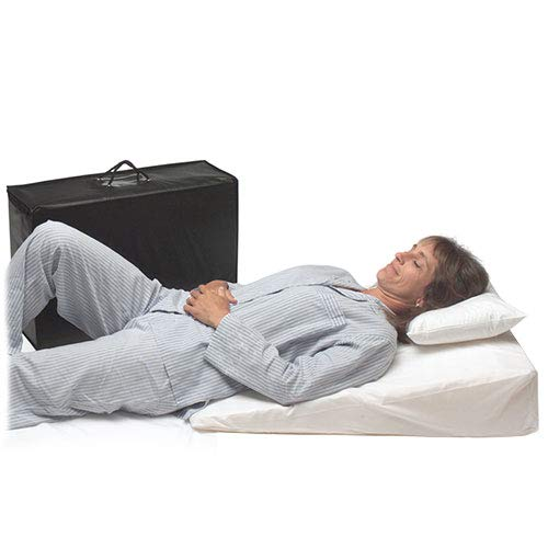 "MedSlant Wedge Pillow for Acid Reflux, Folding Pillow Includes Zippered Folding Cover, Fitted Poly-Cotton Cover and Quality Carry Case. Dr. Mike Roizen's Top Reflux Solution (32""x24""x7"")"