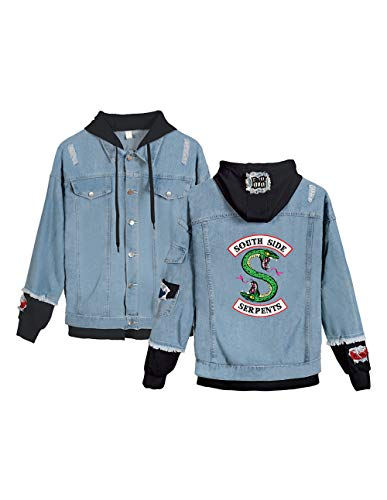 Riverdale Southside Serpents Jacke Damen, Teenager Mädchen Denim Jacket Unisex Herren Coole Jeansjacke Pullover Frauen Winterjacke Männer Kapuzen Sweatshirt Jäckchen Hoodie Outwear (C-Blau-B,L)
