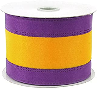 Homeford Firefly Imports Stripe Sport Theme Ribbon Wired Edge, 2-1/2-Inch, 10 Yards, Purple/Gold, 2-1/2
