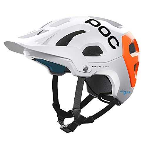 POC Tectal Race SPIN NFC, Casco da Bici, XL-XXL (59-62 cm), Bianco/Arancione (Hydrogen White/Fluorescent Orange AVIP)