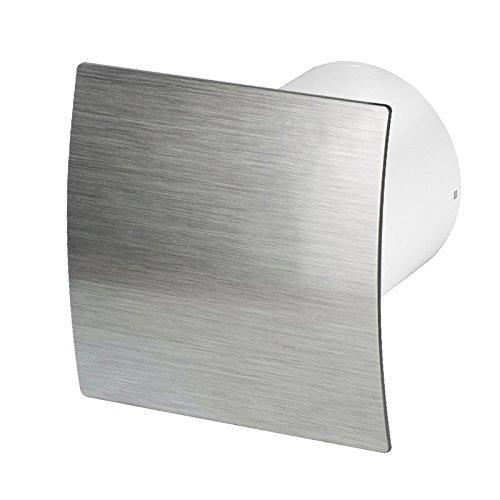 Badlüfter Wand-Ventilator Ø 100 mit Nachlauf , Kugellager Silent Escudo - Line System+ (silber gebürstet)