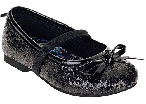 Faded Glory Toddler Girls Dazzle Glitter Shoes Flats (Toddler Girls 7 M, Silver)