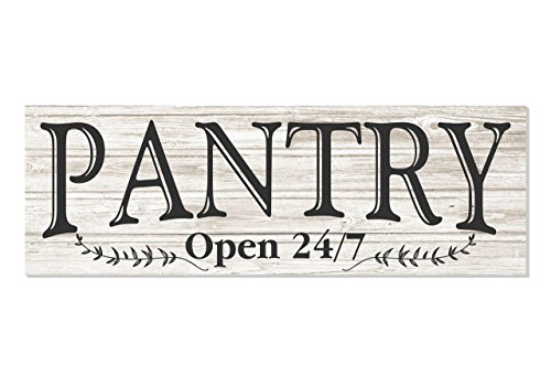 Pantry Open 24/7 White Rustic Wood Wall Sign 6x18 (White Unframed)