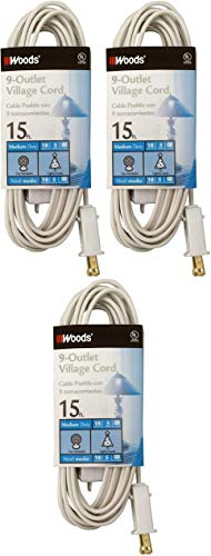 Woods 2188 Indoor Extension Cord With 9 Power Outlets (15 Feet, White) Pack of 3