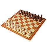 PTMD 3-in-1 Internationales Schach-Set aus Holz, 30 x 30 cm, Schachbrett mit Schachfiguren, Brettspiele, Backgammon-Dame für Kinder und Erwachsene