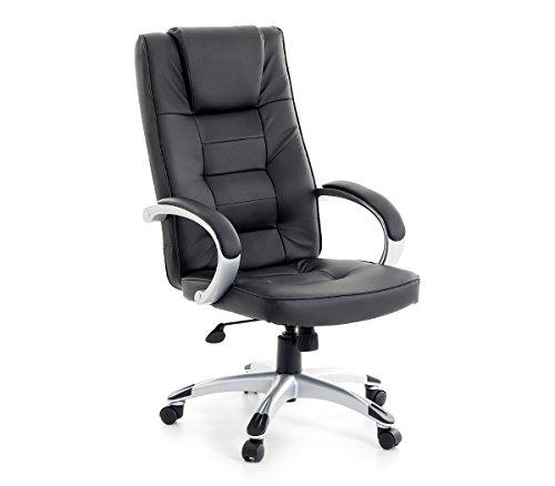 Leder Chefsessel Massagesessel San Diego Farbe schwarz + silber Bürostuhl mit Massage für Büro...